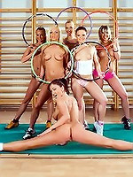 Horny, athletic girls compete for big dick groupsex